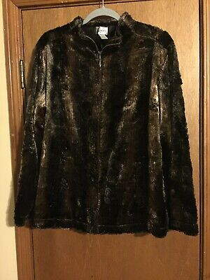 Chico's Faux Fur Jacket Zip Front Coat Rich Brown Mixed Shades Women's Size 2