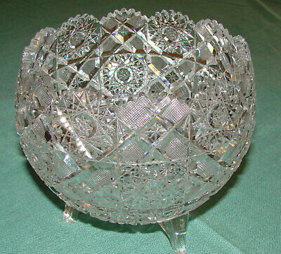 Antique ABP American Brilliant Period Cut Glass Footed Bowl - 6""