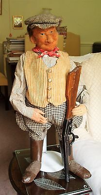 """1920s VERY RARE FRENCH 24"""" COUNTRY LAND-OWNER, GLASS EYES, WELL-DRESSED + STAND"""
