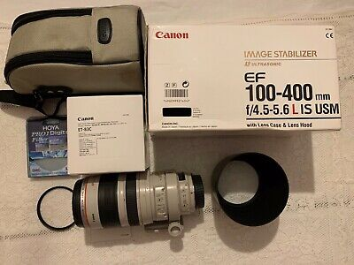 CANON EF 100-400mm f/4.5-5.6L IS USM & hood, caps, case, filter - fully serviced