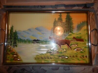 Antique Serving Tray with moose and painted. Made in Germany.