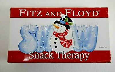 Fitz and Floyd Snowman Snack Therapy Plate Christmas Holiday Candy Cookie Tray