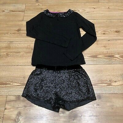 Girls Mini Boden Johnnieb black long sleeve top and black sequin shorts Year 9-1