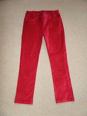 WORN ONCE! Girl's MINI BODEN Red Velvet Trousers Age 8 Perfect for NOW!