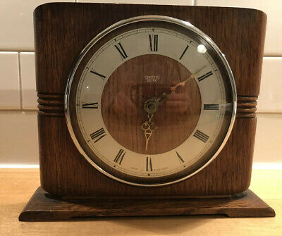 Smiths Sectric Vintage Mantle Clock, Art Deco Solid Wood Classic Design