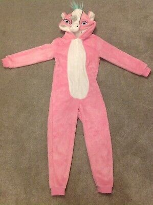 Girls Pink Unicorn One Piece Aged 8-9 Good Condition - George