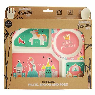 Fairy Princess Childrens Bamboo Eco-Friendly Dinner Meal Set Plate Fork Spoon