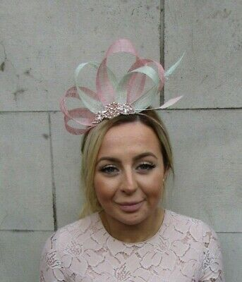 Rose Gold Dusky Blush Pink Mint Green Fascinator Feather Sinamay Headpiece 7923