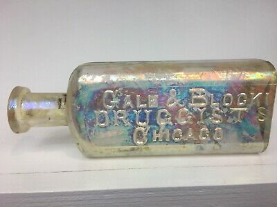 VINTAGE- Gale & Block Druggist Medicine Apothecary bottle ,Chicago ILL, Illinois