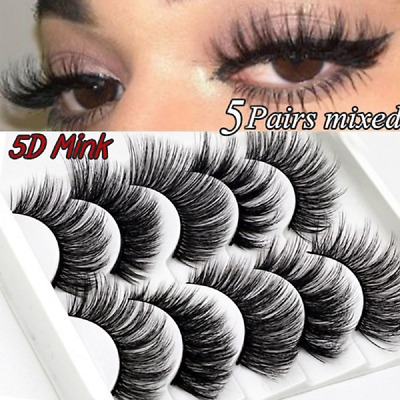 5Pair 3D Mink False Eyelashes Wispy Cross Long Thick Soft Fake Eye Lashes UK US