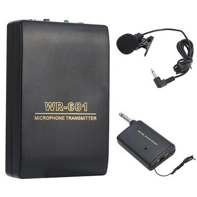Lavalier Lapel Wireless Microphone FM Transmitter Receiver Clip Mic System