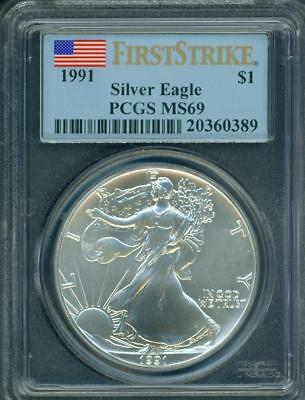1991 American Silver Eagle 1 Oz. ASE S$1 PCGS MS69 MS-69 FIRST STRIKE FS