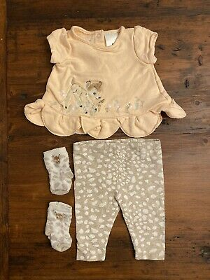 Disney Bambi Outfit Baby Girls - 0-3 Months. Top, Pants, Socks.