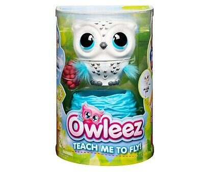 Owleez, Flying Baby Owl Interactive Toy with Lights & Sounds (White) New USPS PM