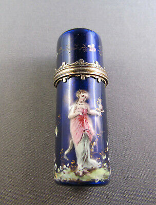 Antique Victorian French Gilt Silver Enamel Scent Bottle With Fairy