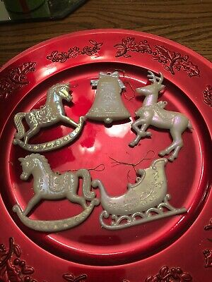 Christmas Ornaments White Ornaments Set Of 5 Rocking Horse Bell Reindeer Sleigh