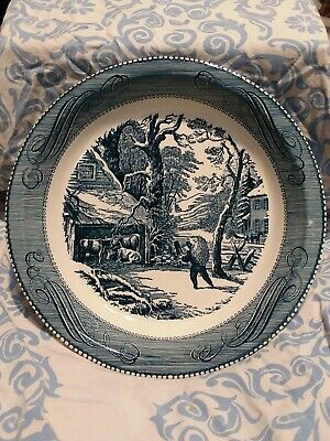 ROYAL China Currier and Ives  PIE PLATE/PAN   Snowy Morning USA Blue White