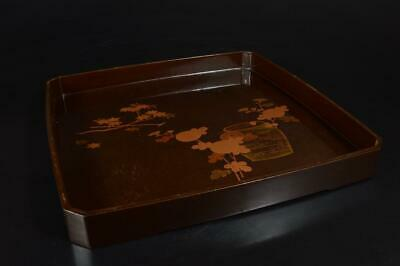 A3981: Japanese Lacquer ware OLD WOODEN TRAY/plate Kaisekibon Tea Ceremony