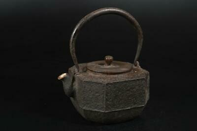 A3123: Japanese XF Old Iron Shapely TEA KETTLE Teapot Tetsubin w/copper lid