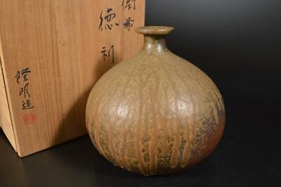 A3925: Japanese Bizen-ware Youhen pattern BIG FLOWER VASE Ikebana w/signed box