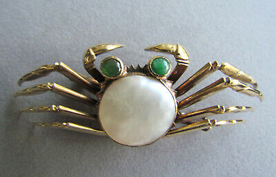 Antique Vintage Art Deco Retro Chinese Sterling Silver Jade MOP Crab Brooch Pin