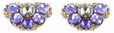 Shoe Clips (pair) Purple & Clear Crystals  (5cms x 3cms)-AU Seller