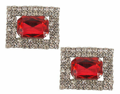 Shoe Clips (pair) Rectangular with Red Crystal & Surrounded by Diamantes-AU