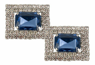 Shoe Clips (pair) Rectangular with Blue Crystal & Surrounded by Diamantes-AU