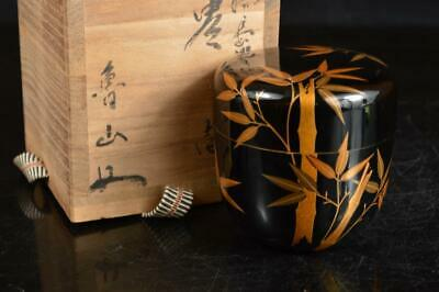 A4146: Japanese XF Wooden Lacquer ware TEA CADDY Natsume Container w/signed box