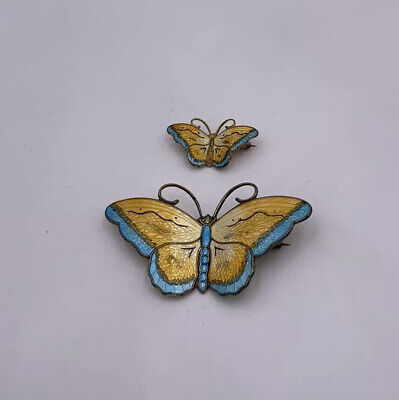 Matched Pair Hroar Prydz Norway Sterling Silver & Enamel Butterfly Pins Brooches