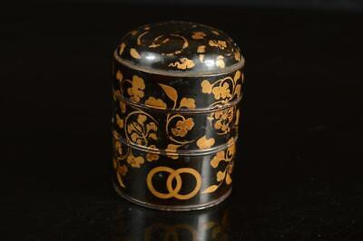 A4113: Japanese Old Wooden Lacquerware Jubako-shaped TEA CADDY Natsume Container