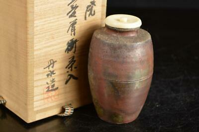 A4104: Japan Tamba-ware TEA CADDY Chaire Container High class lid w/signed box