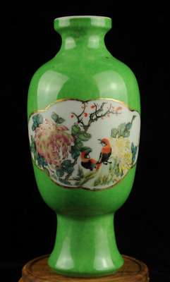 china old Green glaze porcelain Hand painted flowers and bird vase A1c01B