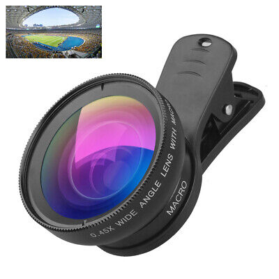 2 in1 Macro + Wide Angle Clip 0.45X Camera Lens Kit For Smart Phone Universal