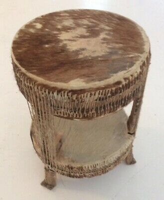 "Vintage Mid Century African ""Tam-Tam"" Drum Table In Cow-hide"