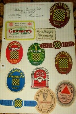 12 Old Wilson Beer Labels Nice Lot 1950s Manchester