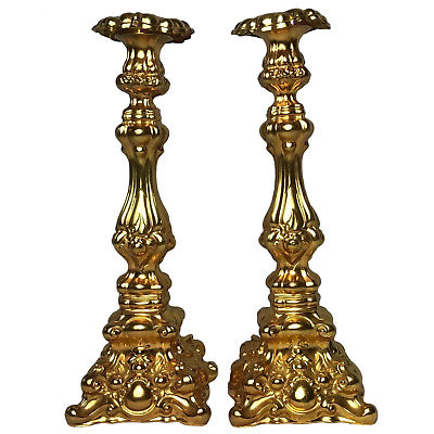 Pair Antique Late 19th Century Rocaille Style Gilded Gilt Metal Candlesticks