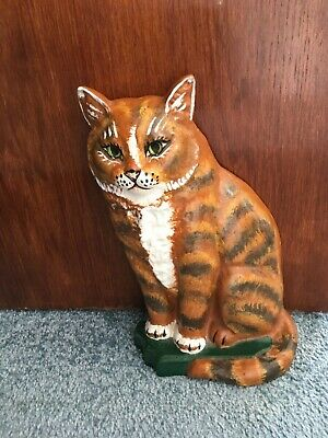 Ginger CAT with Green Eyes Cast IRON DOORSTOP