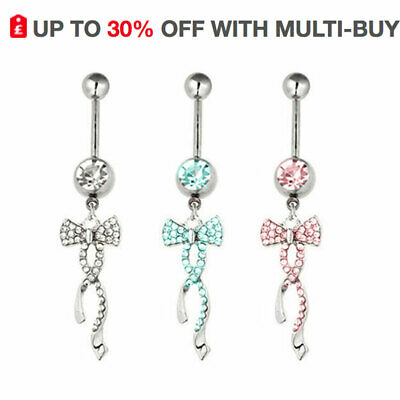 Belly Button Bars Navel Ring Bow Clear Gems Dangly Dangle Body Piercing Jewelley