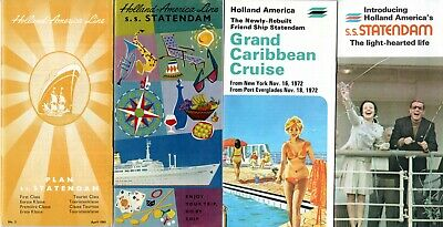 4 STATENDAM Brochures w/ Plans & Interiors 1961-1972 - NAUTIQUES sHiPs WORLDWIDE