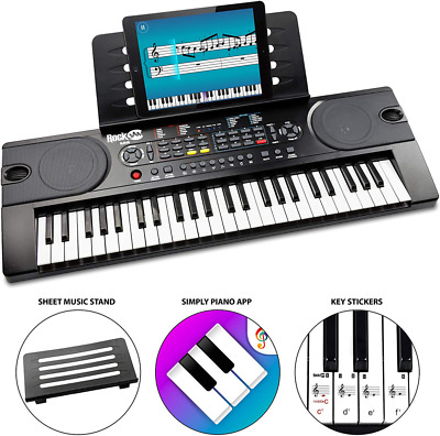 RockJam 49-Key Portable Digital Piano Keyboard with Music Stand, Power Supply an