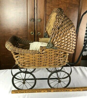 Very Nice Antique/Vintage Wicker Doll Baby Carriage Early 1900s