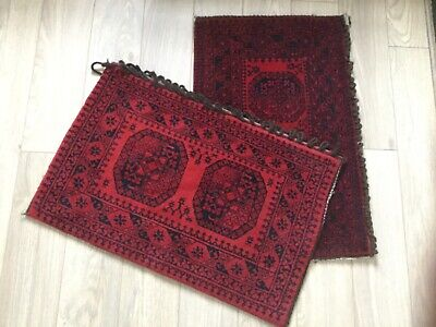 Pair of Handmade Traditional Afghan Wool Floor Cushions. Unused.
