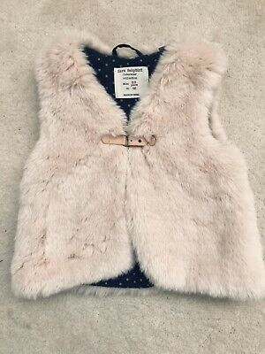 Girls Pale Pink Faux Fur Gillet Age 2-3 Years From Zara