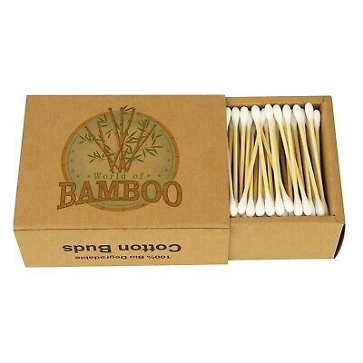 Bamboo Cotton Buds Natural Wooden Paper Stem Eco Friendly Earbuds Organic Swabs