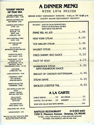 Raffles Restaurant Dinner Menu 1974 Prices Florence Ave Downey California