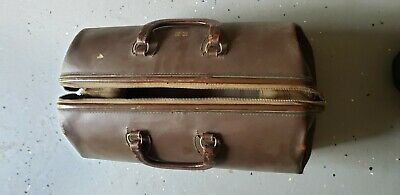 Large Antique Vintage Leather Bag Satchel Travel Bag Brass Hrdw
