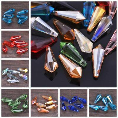 20pcs 20x8mm Chandelier Faceted Crystal Glass Hanging Drop Pendants Loose Beads