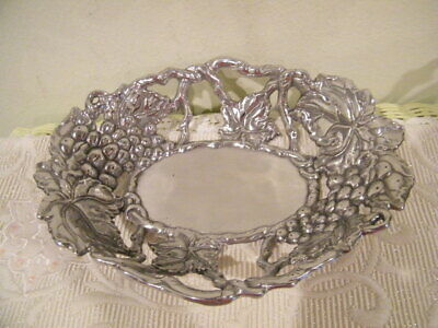 Arthur Court 2004 Pewter Grape Vine Fruit Bowl Gift Item 10' X 8""