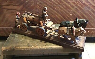 Vintage Hand Carved German Beer Wagon ~ Pulled By Horse And Ox
